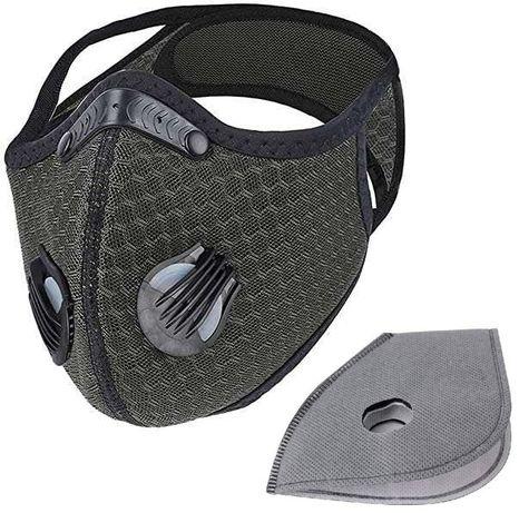 Maska sportowa antysmogowa zielona + filtry