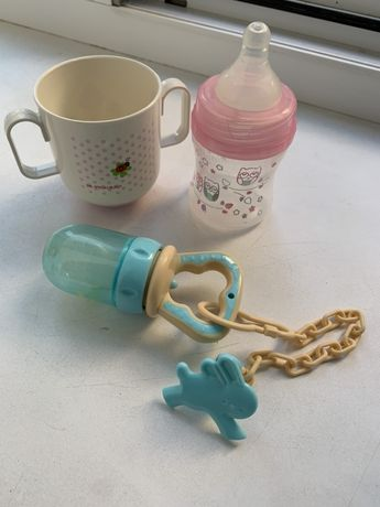 Детские пренадлежности (ниблер, бутылочка, чашка)