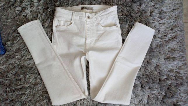 Nowe Spodnie skinny rurki zara 36 s białe wysoki stan