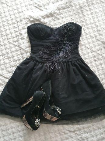 Sukienka xxs xs czarna wesele
