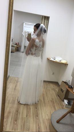 Suknia ślubna ecru muślin bielsko biała 168 cm Classa 36/38