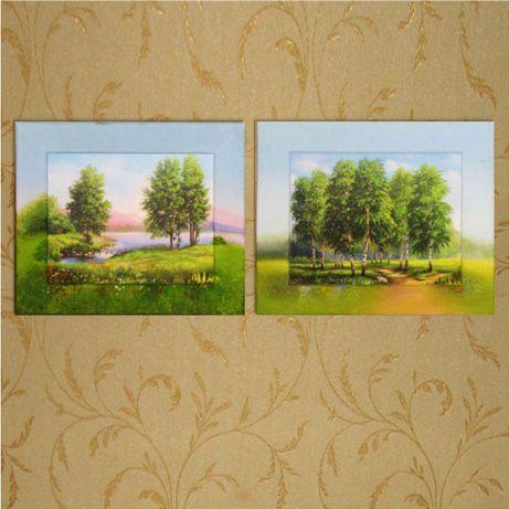 Пара картин с пейзажем, акрил 30х40 см