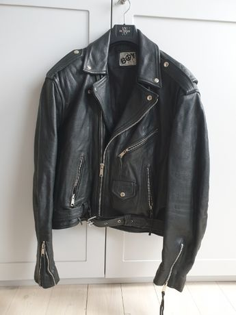 Kurtka skórzana męska vintage BOY typu biker motorowa, unikat M L