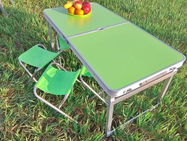 Стол для пикника Усиленный + 4 стула салатовый и другие + зонт