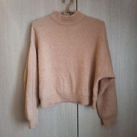 Krótki beżowy sweter z półgolfem H&M 34 XS