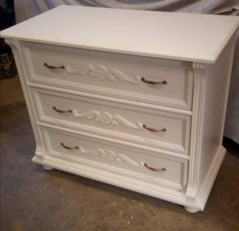 Przepiękna biała komoda - antyk po renowacji