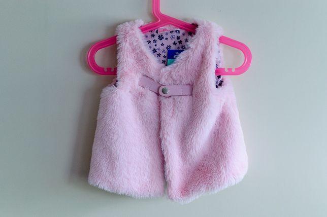 Kamizelka bezrękawnik futerko dziewczynka r. 74 cm różowy NOWY