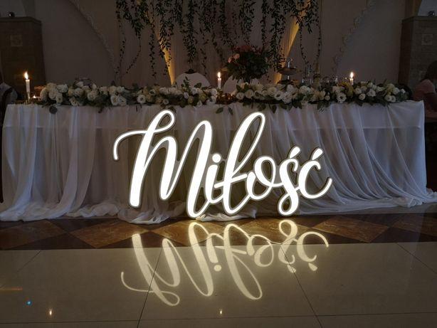 Napis LED MIŁOŚĆ WYNAJEM na imprezę wesele ŚLUB NOWOŚĆ!
