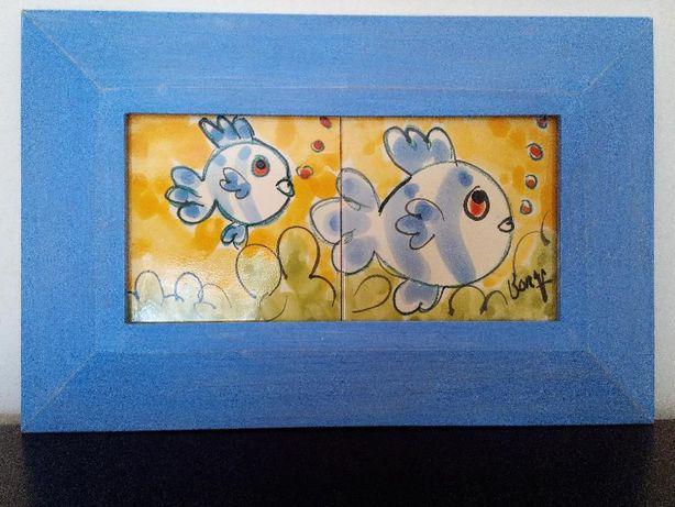 Quadro com pintura sobre azulejos