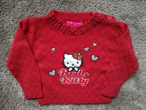 Czerwony sweterek Hello Kitty 68 - nowy bez metki