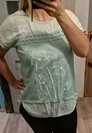 Piękna miętowa bluzka XL