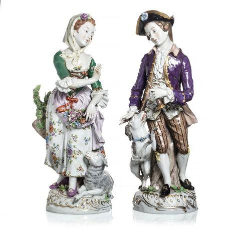 Par Esculturas Porcelana Alemã