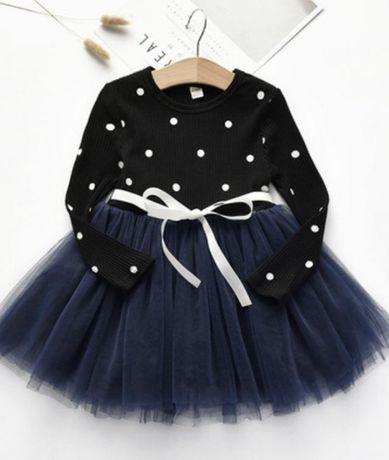 Платье нарядное  фатин в горошек новое все размеры