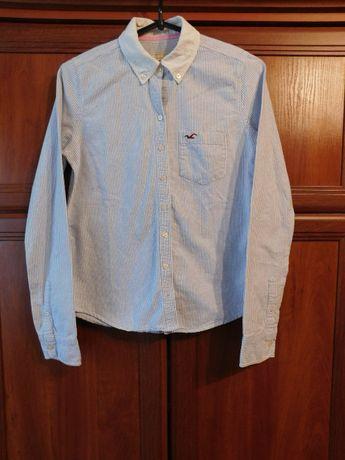 Рубашка белая в мелкую полоску Hollister