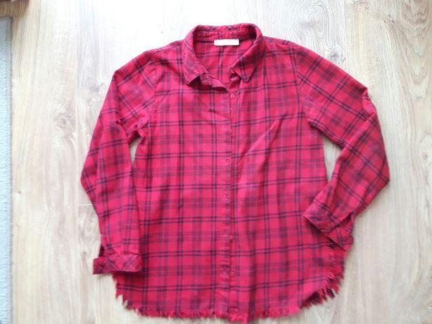 Czerwona koszula w kratę r. 140 ciepla