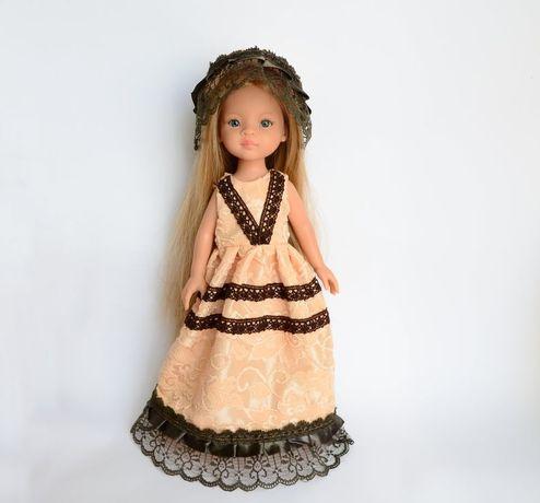 Длинное нарядное платье и шляпа, одежда куклы Паола Рейна Paola Reina