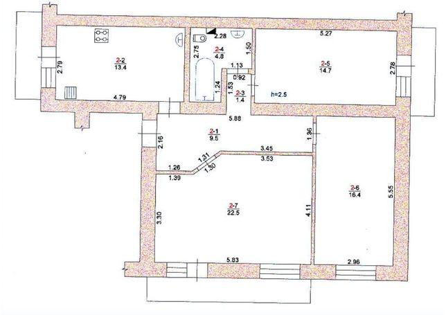 эксклюзивная 3-х комнатная квартира с гаражом и подвалом в Измаиле