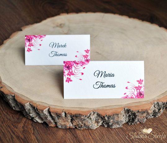 Winietka ślubna winietki na ślub wesele goździk fuksja różowe
