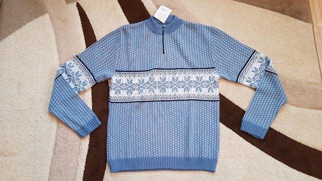Sweter męski, NOWY, niebieski, L/XL