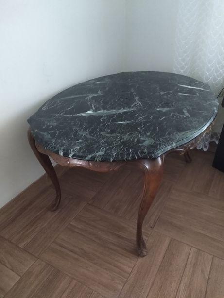 Stół ława stolik dębowy z marmurowym blatem