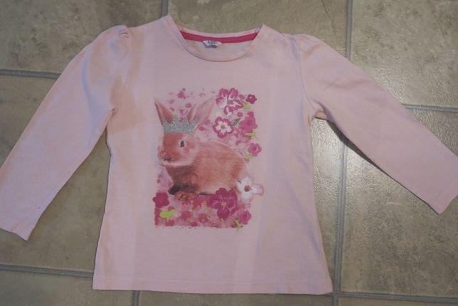 Różowa bluzka z królikiem 110 cm