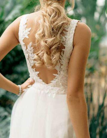 Suknia ślubna driada ecru beżowa brokat wycięte plecy dama couture