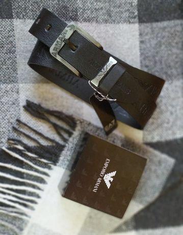 Широкий мужской пояс ремень Emporio Armani под джинсы