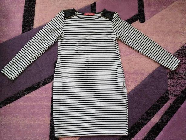 Czarno-biała sukienka w paski, rozm XL