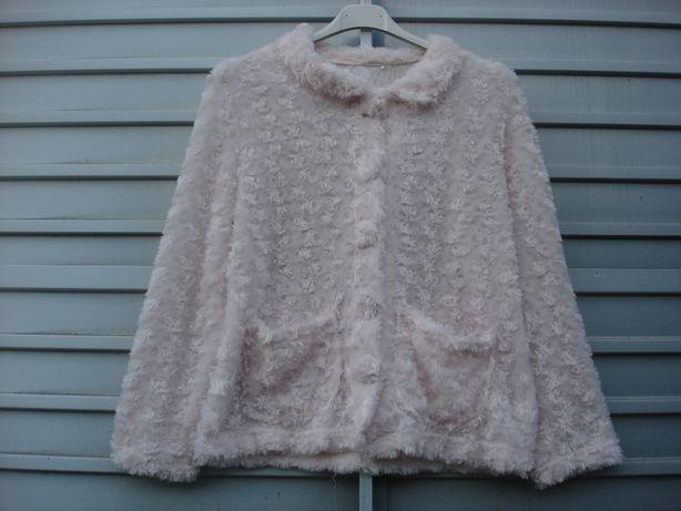 Pluszowa narzutka różowa zapinana bluza St. Bernard DUNNES 31-33 INS