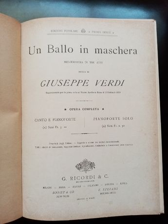 G. Verdi - Un Ballo in Maschera (Bal maskowy) - nuty - starodruk 1882