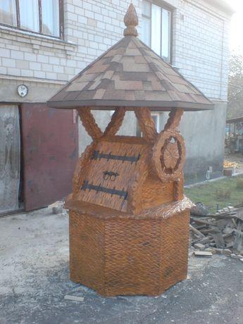 Домик для колодца восьмигранный деревянный резной