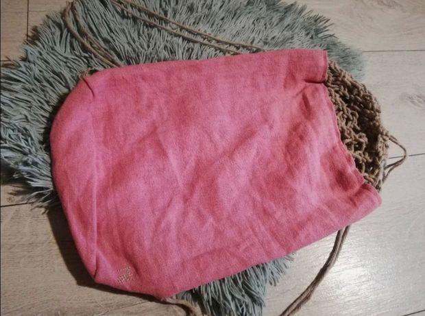 Różowy plecak pół makrama