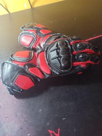 Rękawice motocyklowe skórzane czerwone 2XL