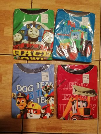 Piżama z krótkim rękawem r. 98 Tomek, koparki, psi patrol, traktor