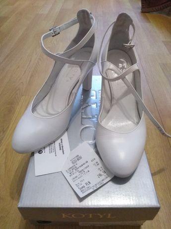 Buty kotyl białe czółenka ślubne 7077 roz 37