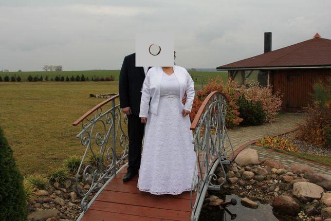 Suknia ślubna + welon + bolerko,wzrost około 160,rozmiar 44-46