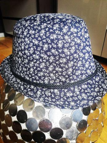 Letni sztywny kapelusz granatowy boho miejski
