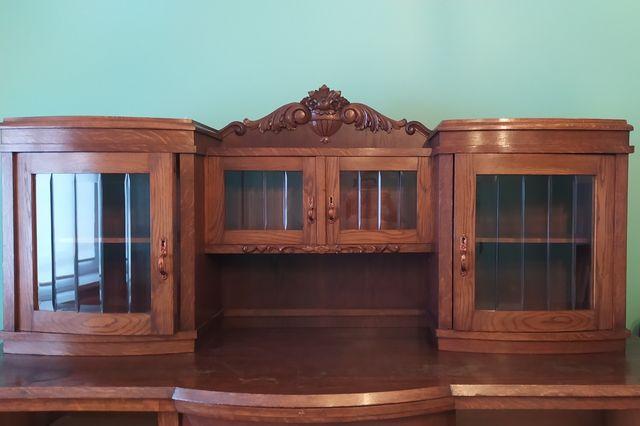 Antyki, zestaw mebli: kredens, komoda, stol+4 krzesła