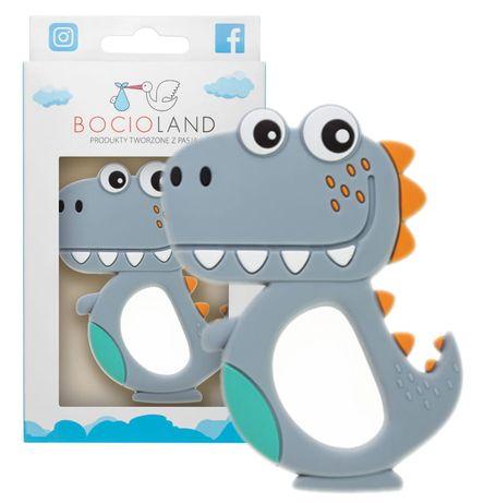 Bocioland Gryzak Silikonowy Dino Szary 5055