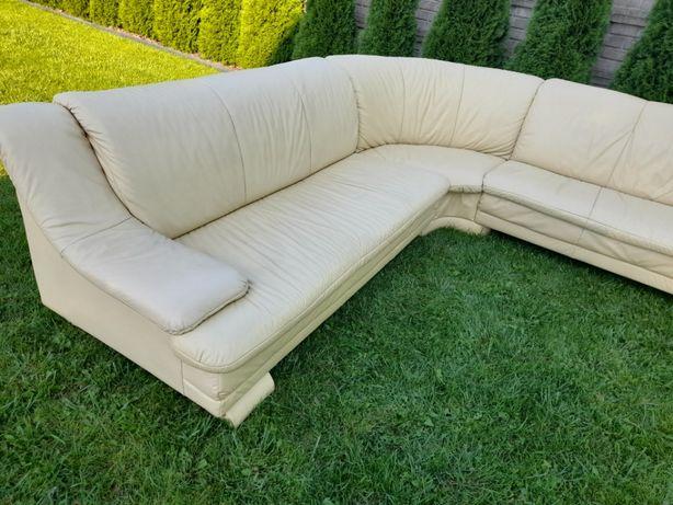 sofa kanapa narożnik skórzana w kolorze piasku pustyni