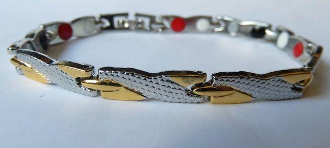 Bransoleta bransoletka magnetyczna wężyk kolor stalowo złoty