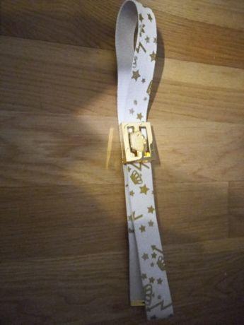 Pasek ADIDAS  biały z dodatkami złota
