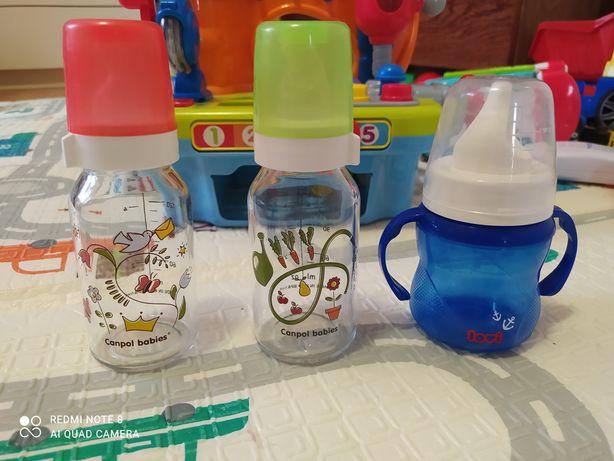 Детская стеклянная бутылочка Canpol + подарок
