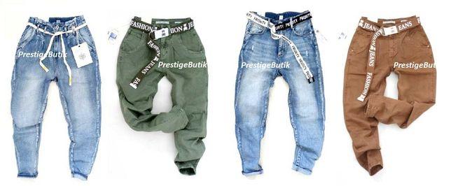 Włoskie spodnie CHINOSY jeansowe camel khaki BAGGY boyfriend paskiem M
