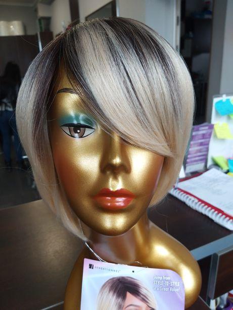 Peruka sztuczne blond platyna krótkie ombre bob grzywka LOTYDR613