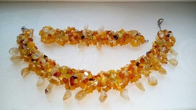 Ожерелье бусы натуральный камень янтарь и пр. Хенд мейд