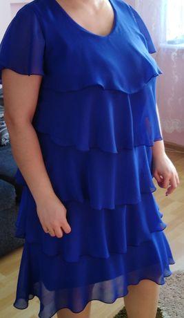 Sukienka szyfonowa z falbankami 46