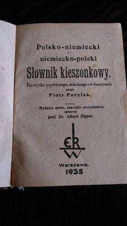 Słownik kieszonkowy polsko-niemiecki i niemiecko polski z 1935 roku