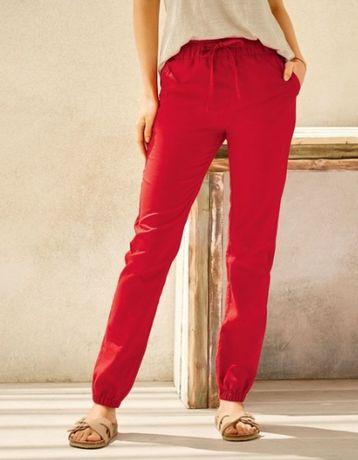 Spodnie czerwone z lnem, rozmiar 40 NOWE