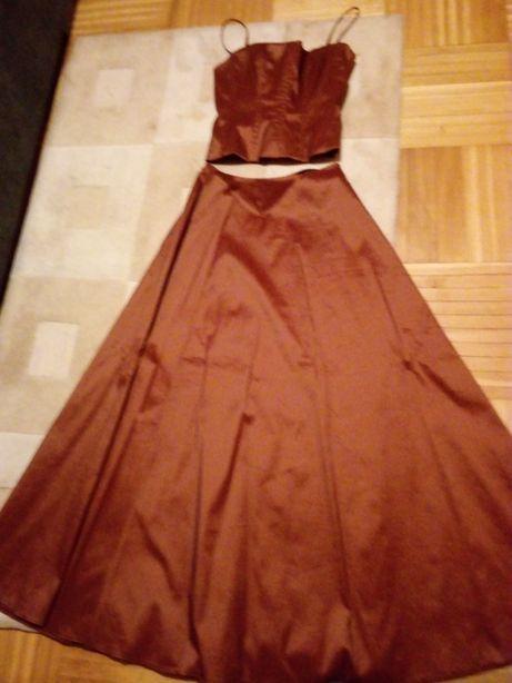elegancka długa spódnica z gorsetem